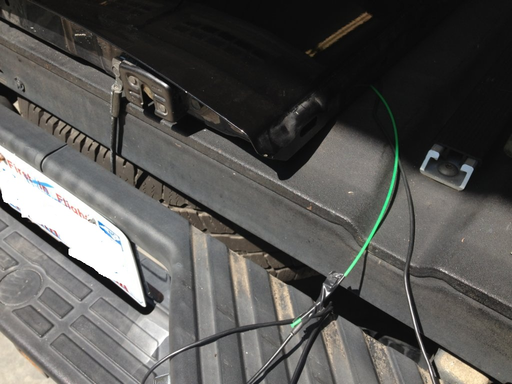 My Tailgate Backup Camera Install Nissan Titan Forum 2011 Trailer Wiring I Didnt Actually Use The Green Line To Pull Wire Through Openings But This Is Path It Will Take At Point You Require Some